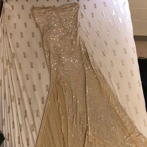 Floor length sheer sparkled gown.